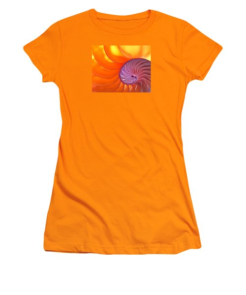 Illuminated Translucent Nautilus Shell With Spiral Women's T-Shirt (Junior Cut) by Phil Cardamone