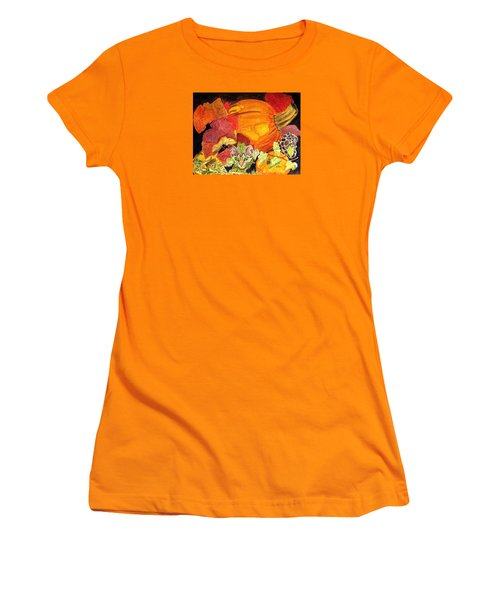 Women's T-Shirt (Junior Cut) featuring the painting I'm Hiding In The Pumpkin Patch by Angela Davies