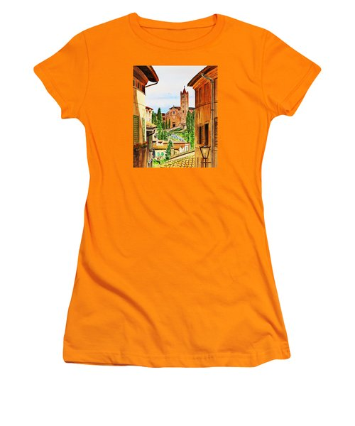 Women's T-Shirt (Athletic Fit) featuring the painting Italy Siena by Irina Sztukowski