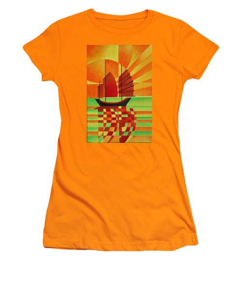 Women's T-Shirt (Junior Cut) featuring the painting Junk On A Sea Of Green by Tracey Harrington-Simpson
