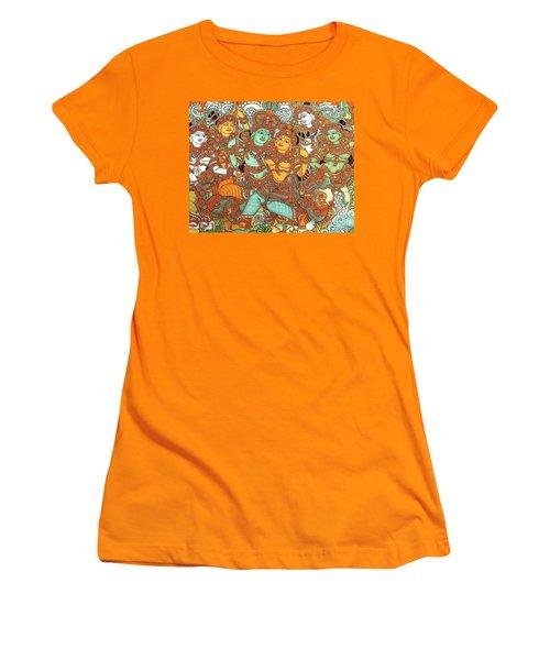 Kerala Mural Painting Women's T-Shirt (Junior Cut) by Pg Reproductions