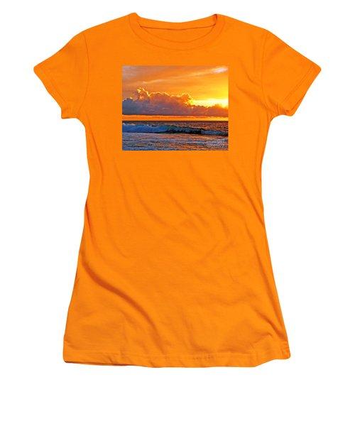 Women's T-Shirt (Junior Cut) featuring the photograph Kona Golden Sunset by David Lawson