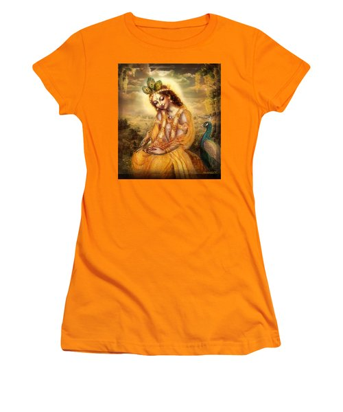 Women's T-Shirt (Junior Cut) featuring the mixed media Krishna With The Peacock Detail by Ananda Vdovic