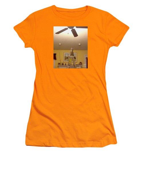 Ladder Cat Women's T-Shirt (Junior Cut) by Stacy C Bottoms
