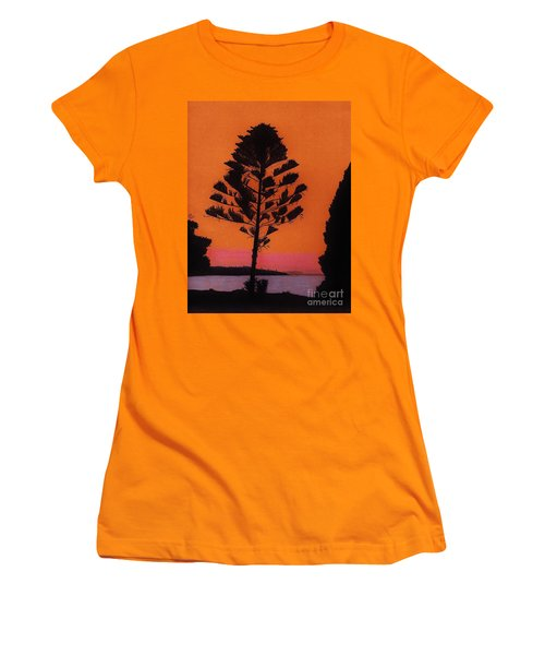 Women's T-Shirt (Junior Cut) featuring the drawing Lake Sunset by D Hackett