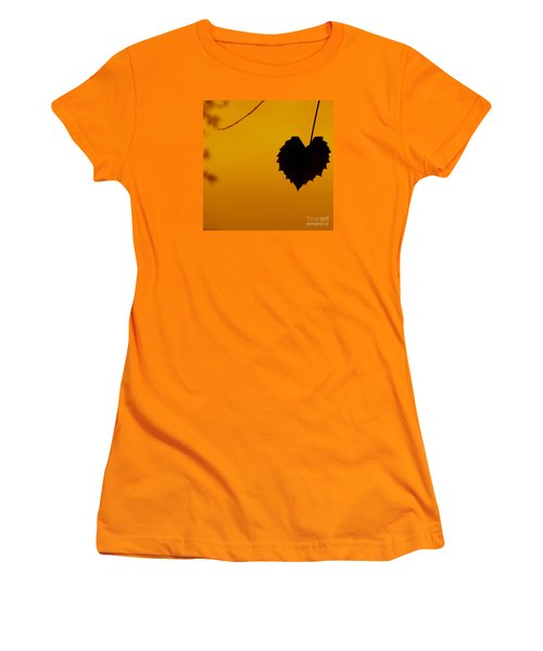 Women's T-Shirt (Junior Cut) featuring the photograph Last Leaf Silhouette by Joy Hardee