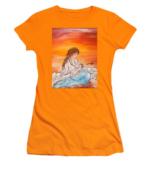 Women's T-Shirt (Junior Cut) featuring the painting Legame Continuo by Loredana Messina