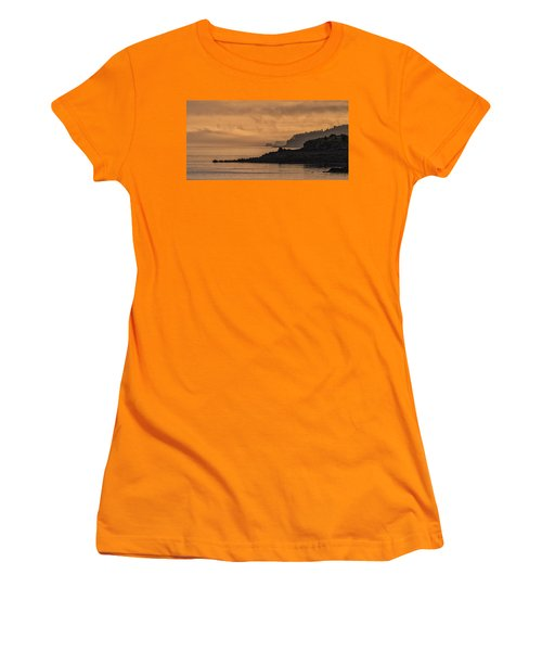 Women's T-Shirt (Junior Cut) featuring the photograph Lifting Fog At Sunrise On Campobello Coastline by Marty Saccone
