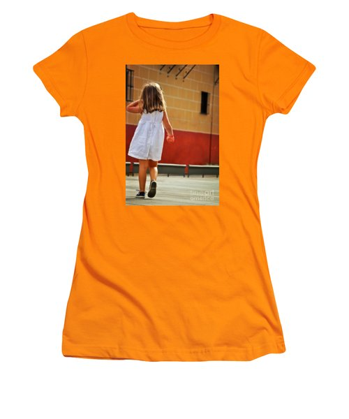 Little Girl In White Dress Women's T-Shirt (Junior Cut) by Mary Machare