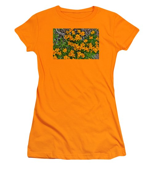 Women's T-Shirt (Junior Cut) featuring the photograph Little Sunflower In The Mountains by Janice Rae Pariza