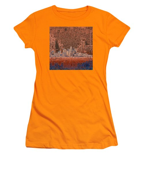 Los Angeles Skyline Abstract 7 Women's T-Shirt (Athletic Fit)