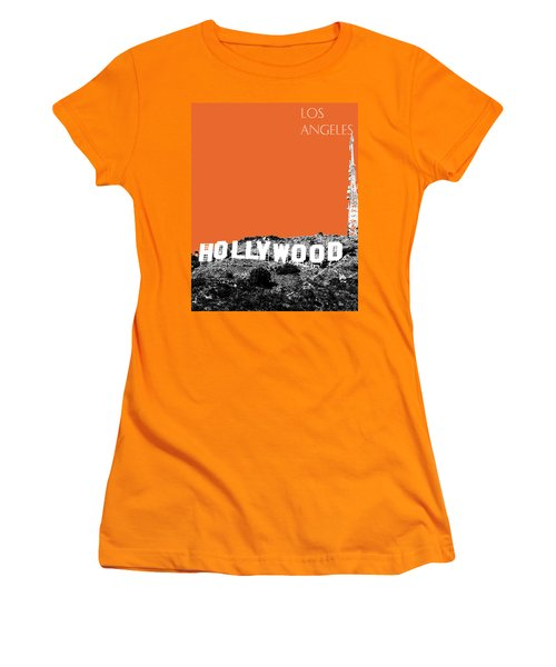 Los Angeles Skyline Hollywood - Coral Women's T-Shirt (Athletic Fit)