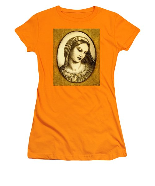 Women's T-Shirt (Junior Cut) featuring the mixed media Madonna Face  by Ananda Vdovic
