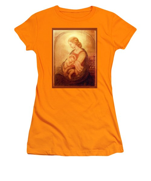 Women's T-Shirt (Junior Cut) featuring the mixed media Madonna With The Sleeping Child by Ananda Vdovic