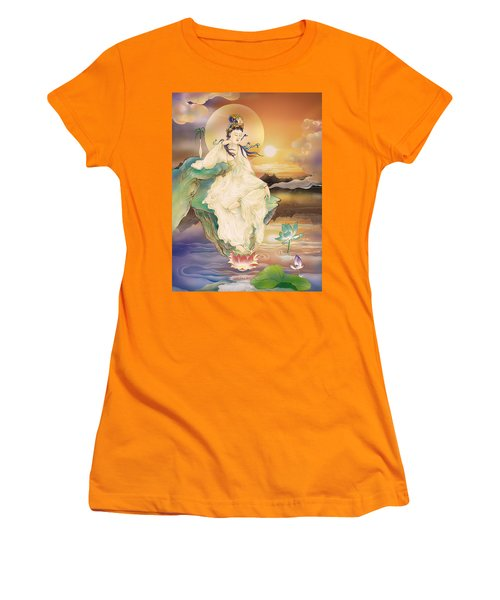 Medicine-giving Kuan Yin Women's T-Shirt (Junior Cut) by Lanjee Chee