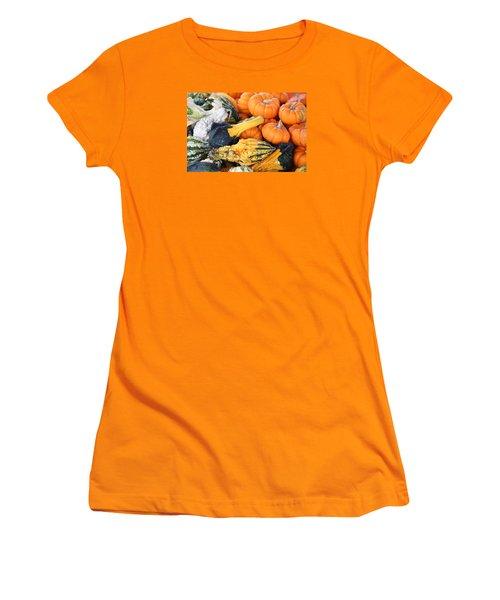 Women's T-Shirt (Junior Cut) featuring the photograph Mini Pumpkins And Gourds by Cynthia Guinn