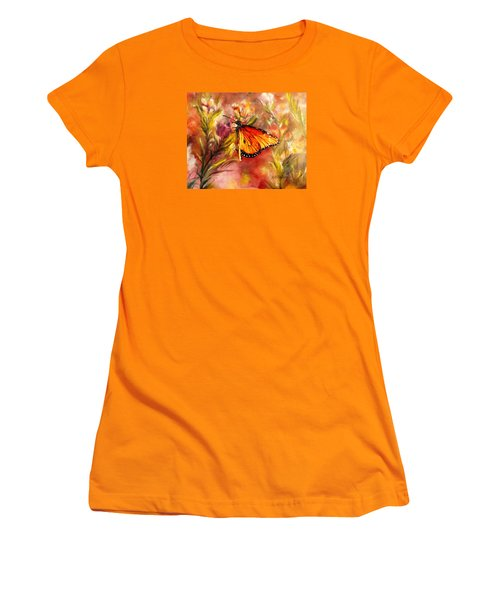 Women's T-Shirt (Junior Cut) featuring the painting Monarch Beauty by Karen Kennedy Chatham