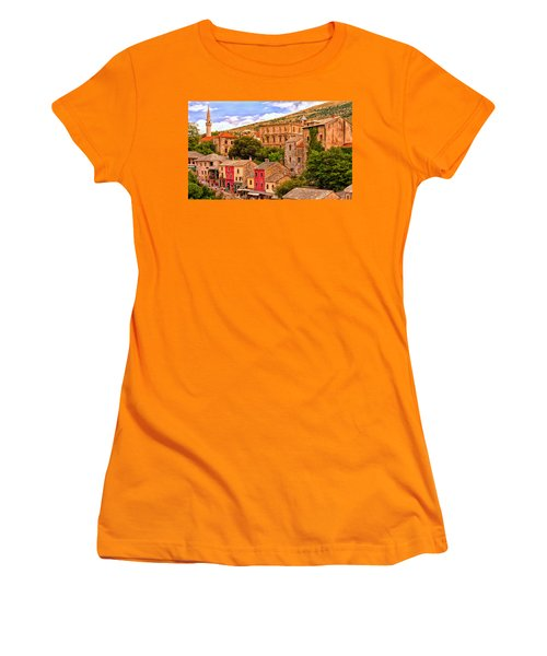 Women's T-Shirt (Junior Cut) featuring the painting Mostar by Michael Pickett