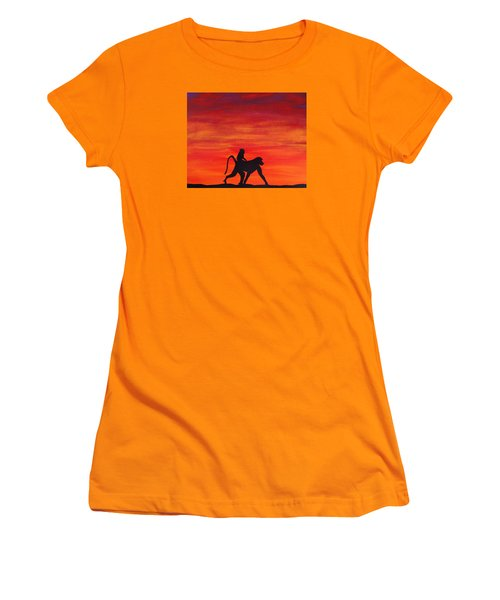 Women's T-Shirt (Junior Cut) featuring the painting Mother Africa 4 by Michael Cross