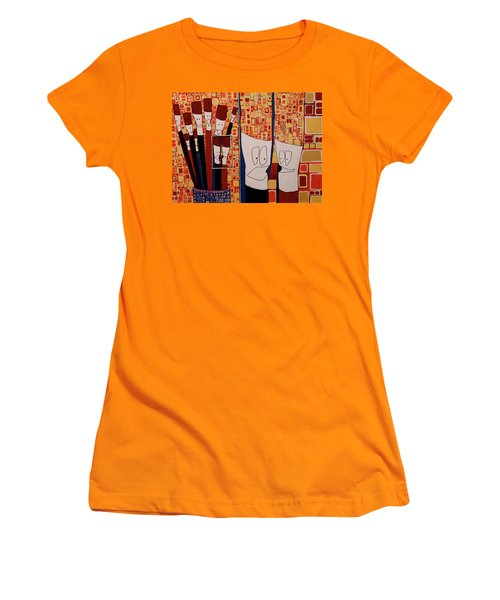 Women's T-Shirt (Junior Cut) featuring the painting My Brushes Are Talking About Me by Donna Howard