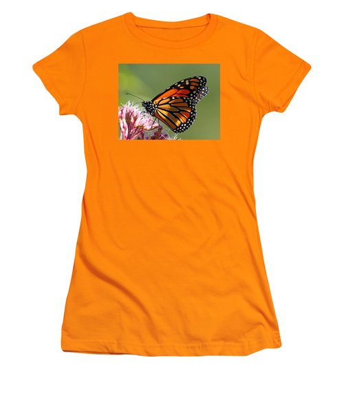Women's T-Shirt (Junior Cut) featuring the photograph Nectaring Monarch Butterfly by Debbie Oppermann