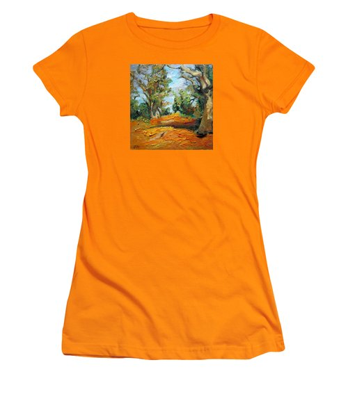 Women's T-Shirt (Junior Cut) featuring the painting On The Forest by Jieming Wang