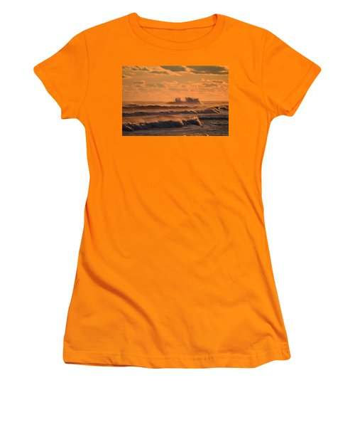 Women's T-Shirt (Junior Cut) featuring the photograph Opal Beach Sunset Colors With Huge Waves by Jeff at JSJ Photography