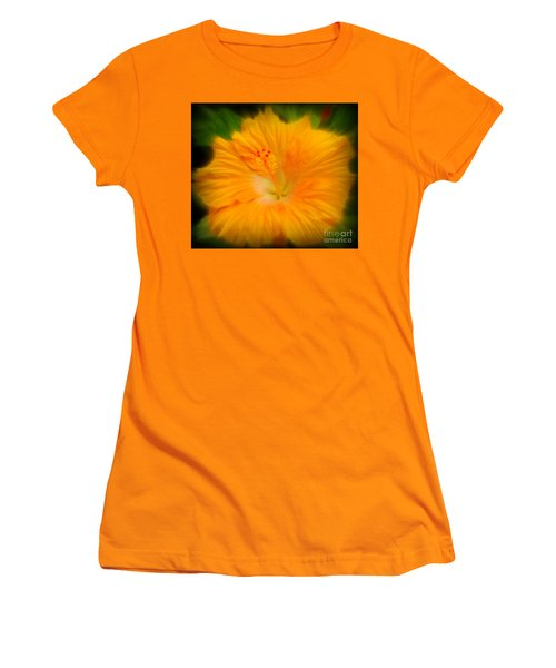 Women's T-Shirt (Junior Cut) featuring the photograph Orange Hibiscus Flower by Clare Bevan