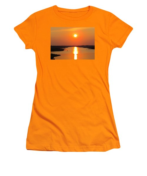 Women's T-Shirt (Junior Cut) featuring the photograph Orange Sunset by Cynthia Guinn
