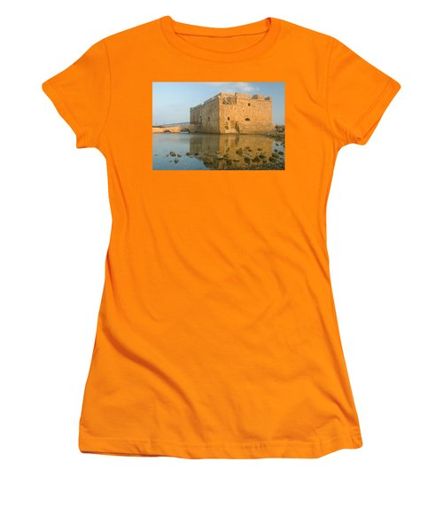 Paphos Harbour Castle Women's T-Shirt (Junior Cut) by Jeremy Voisey