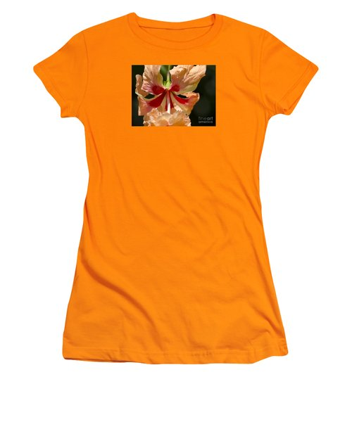 Peach And Red Flower Women's T-Shirt (Athletic Fit)