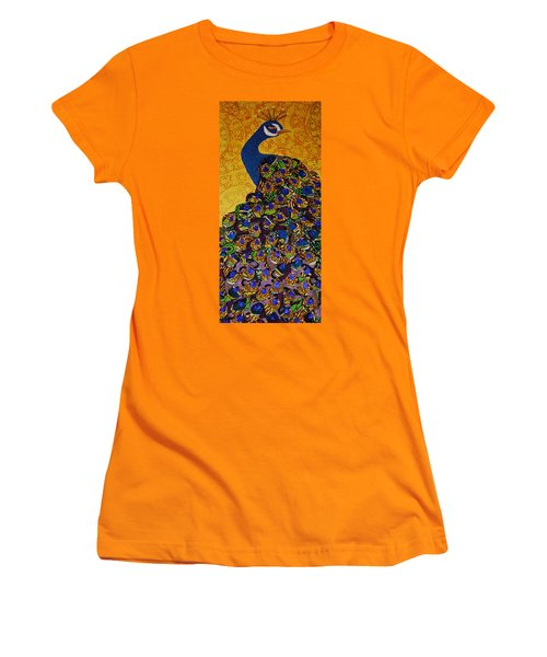 Women's T-Shirt (Junior Cut) featuring the tapestry - textile Peacock Blue by Apanaki Temitayo M