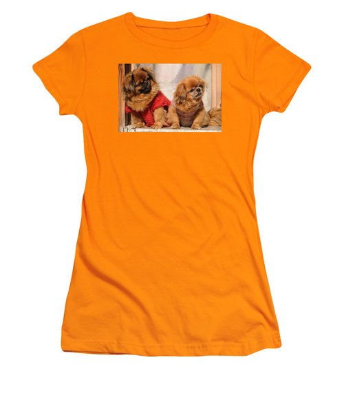 Pekingese Pair Women's T-Shirt (Junior Cut) by Jeremy Voisey