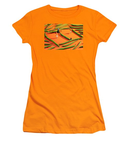 Playing Tennis Among French Beans Little People On Food Women's T-Shirt (Junior Cut) by Paul Ge