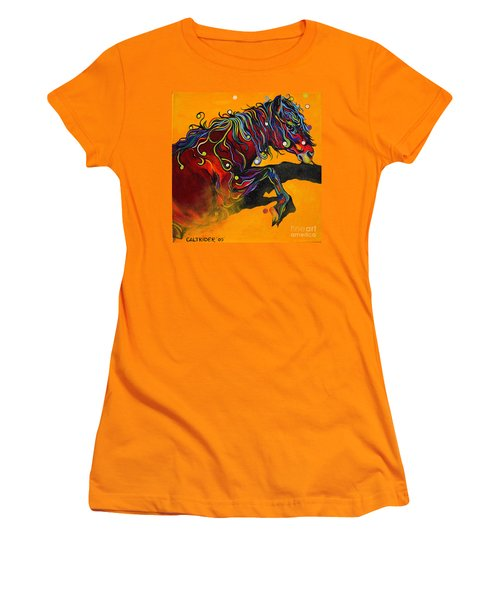 Women's T-Shirt (Junior Cut) featuring the painting Prelude To A Dance by Alison Caltrider