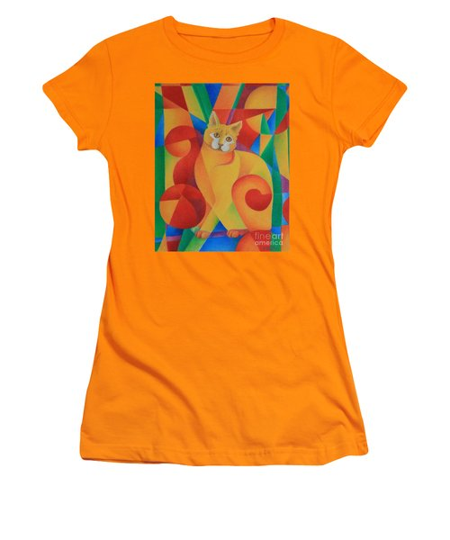 Women's T-Shirt (Junior Cut) featuring the painting Primary Cat II by Pamela Clements