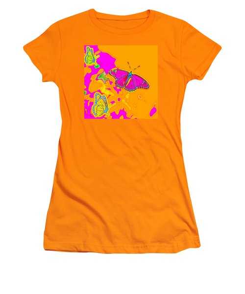 Psychedelic Butterflies Women's T-Shirt (Junior Cut) by Marianne Campolongo