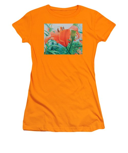 Women's T-Shirt (Junior Cut) featuring the painting Reach For The Skies by Pamela Clements