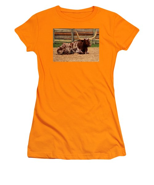 Red And White Texas Longhorn Women's T-Shirt (Athletic Fit)