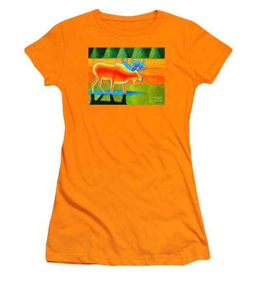 Women's T-Shirt (Junior Cut) featuring the painting Red Moose by Joseph J Stevens