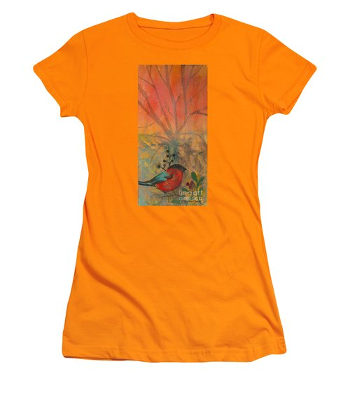 Women's T-Shirt (Junior Cut) featuring the painting Red Peace Bird by Robin Maria Pedrero