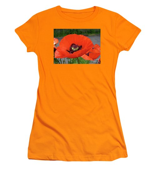 Women's T-Shirt (Junior Cut) featuring the photograph Red Poppy by Barbara Griffin