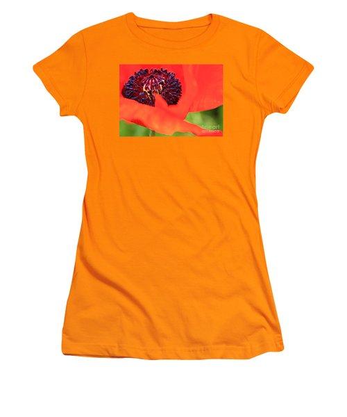 Red Poppy Women's T-Shirt (Junior Cut) by Linda Bianic