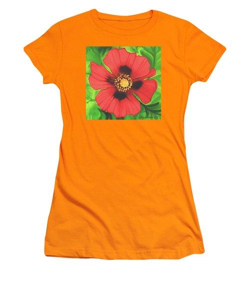 Red Poppy Women's T-Shirt (Junior Cut) by Sophia Schmierer