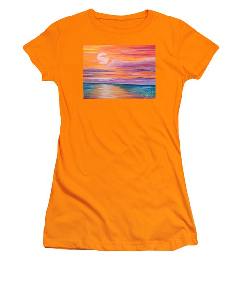 Women's T-Shirt (Junior Cut) featuring the painting Ribbons In The Sky by Holly Martinson