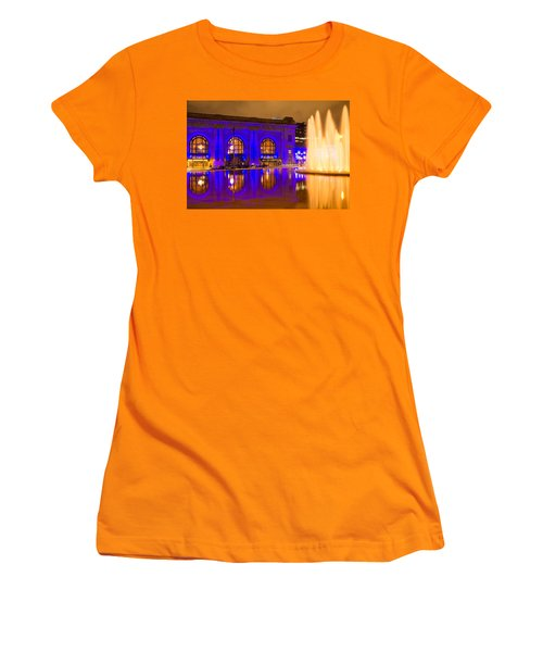 Royal Blue Reflections Union Station Women's T-Shirt (Junior Cut) by Steven Bateson