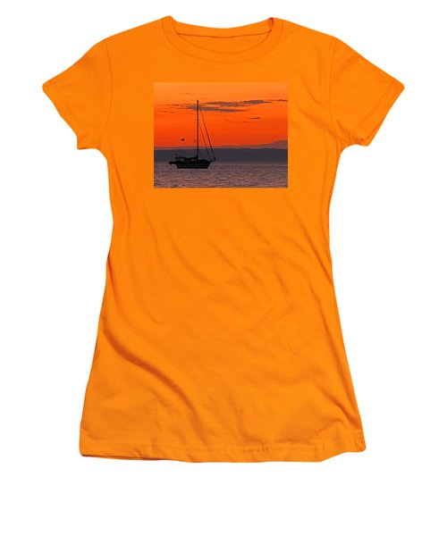 Sailboat At Sunset Women's T-Shirt (Athletic Fit)