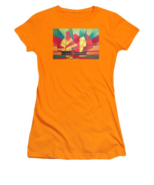 Women's T-Shirt (Junior Cut) featuring the painting Sails And Ocean Skies by Tracey Harrington-Simpson