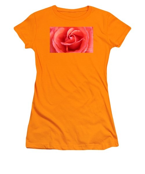 Women's T-Shirt (Junior Cut) featuring the photograph Salmon Floral Rose Abstract by Judy Palkimas