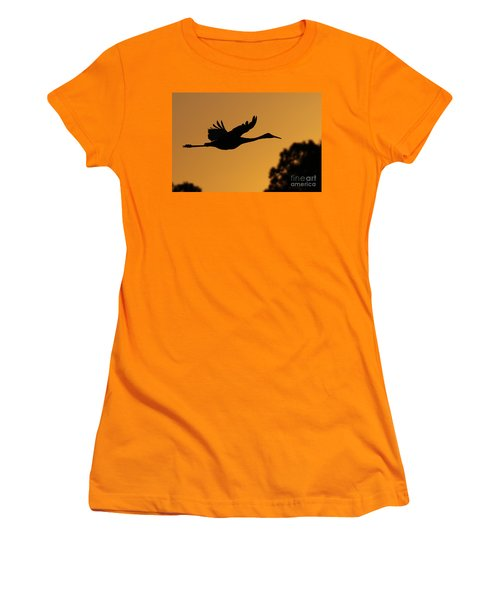 Sandhill Crane In Flight Women's T-Shirt (Athletic Fit)
